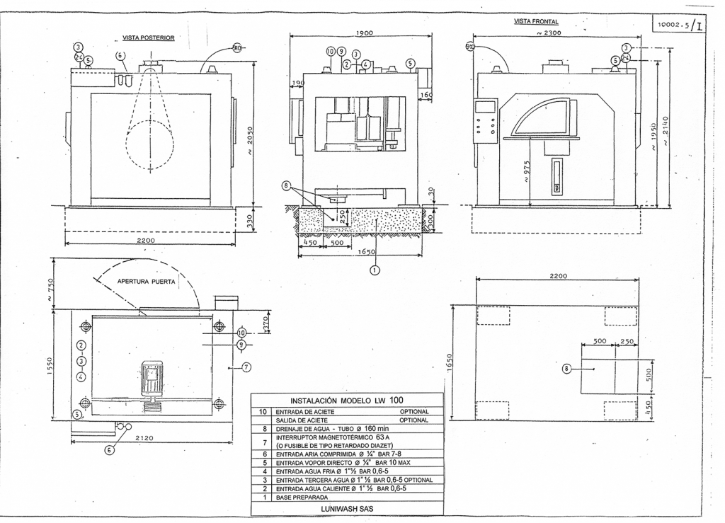 las instrucciones de instalación de la lavadora LW 100 - Luniwash