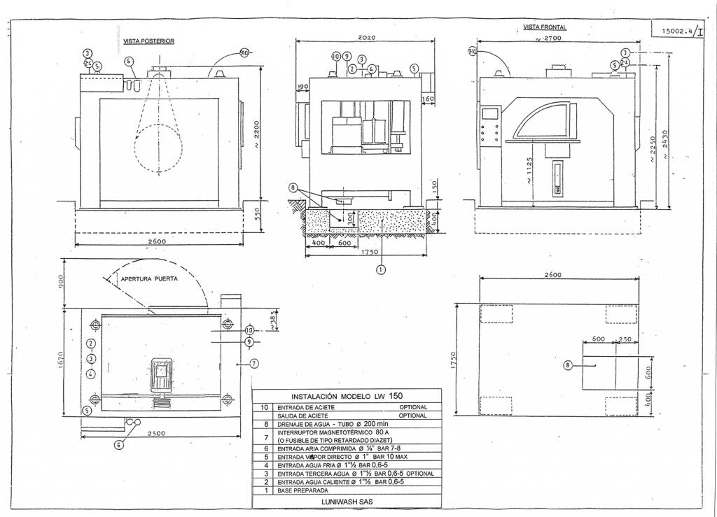 las instrucciones de instalación de la lavadora LW 150 - Luniwash