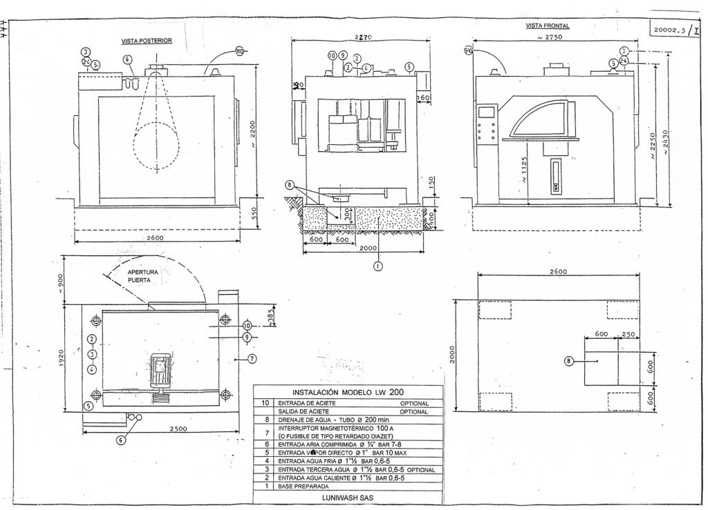 las instrucciones de instalación de la lavadora LW 200 - Luniwash