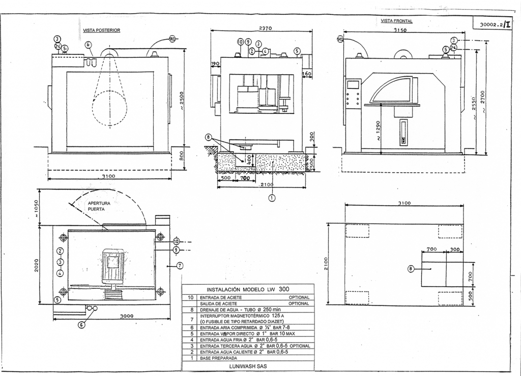 las instrucciones de instalación de la lavadora LW 300 - Luniwash