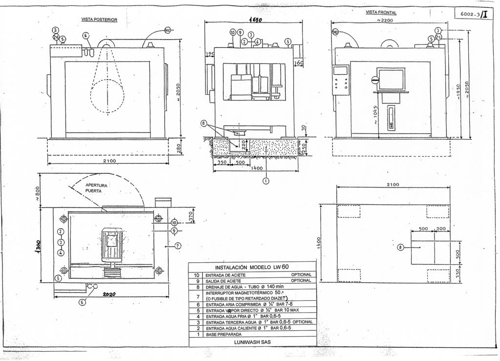 las instrucciones de instalación de la lavadora LW 60 - Luniwash