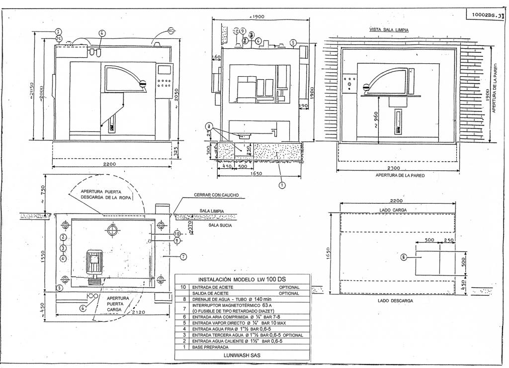 las instrucciones de instalación de la lavadora LW 100 DS - Luniwash