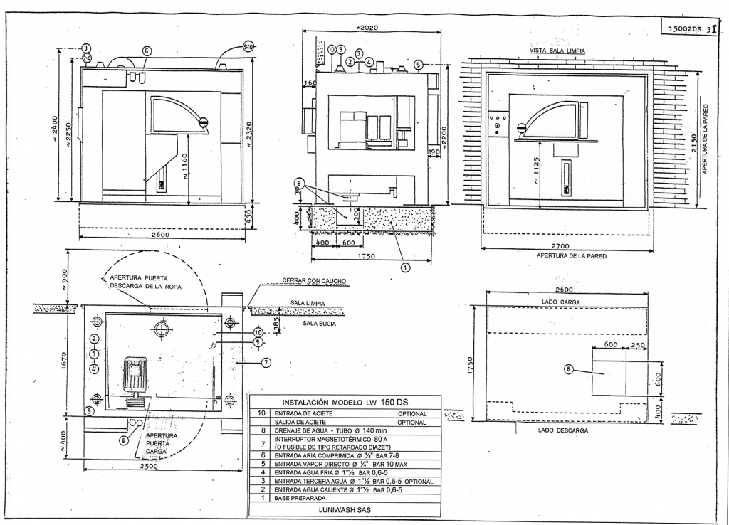 las instrucciones de instalación de la lavadora LW 150 DS - Luniwash