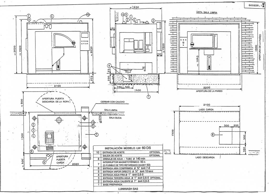 las instrucciones de instalación de la lavadora LW 60 DS - Luniwash