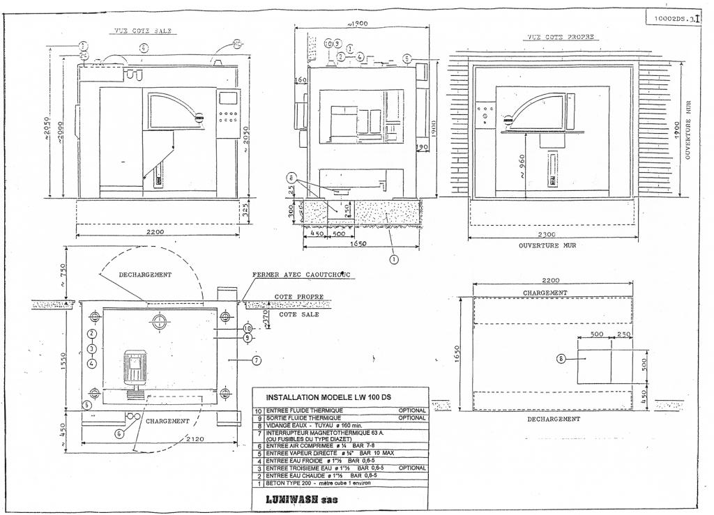 les instructions d'installation de la laveuse essoreuse LW 100 DS - Luniwash