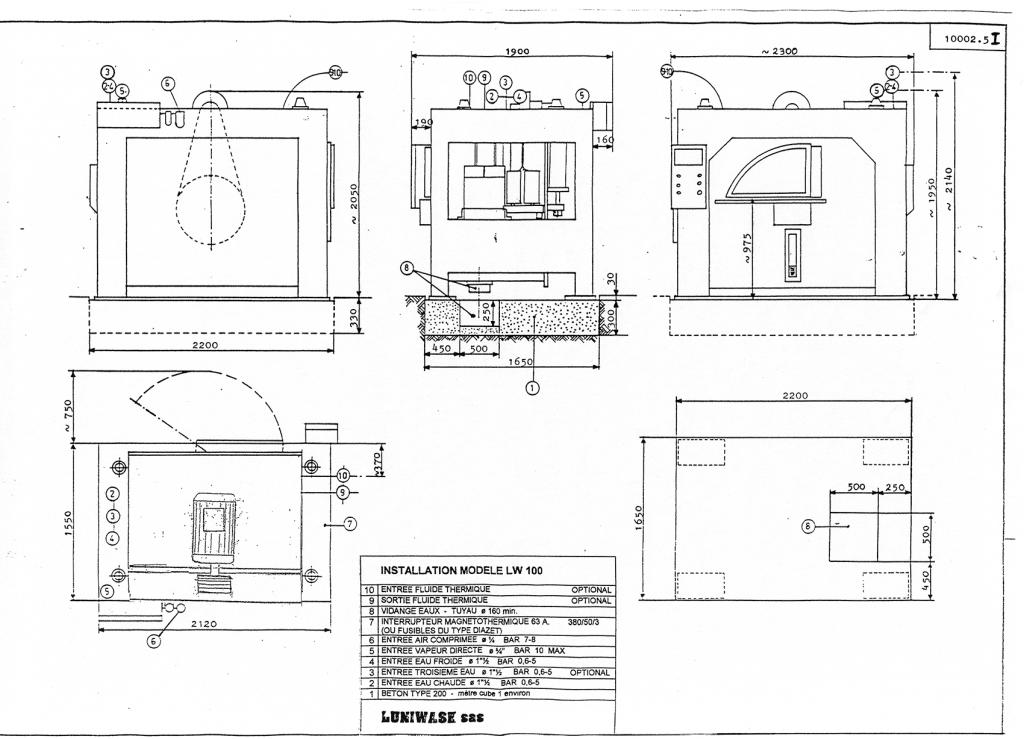 les instructions d'installation de la laveuse essoreuse LW 100 - Luniwash