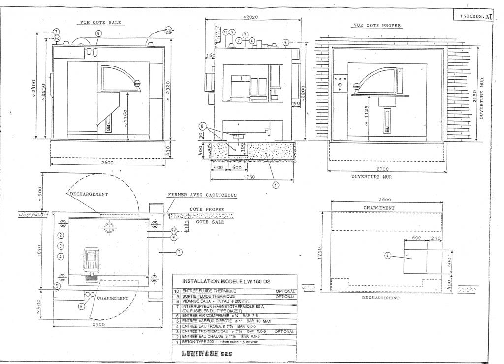 les instructions d'installation de la laveuse essoreuse LW 150 DS - Luniwash