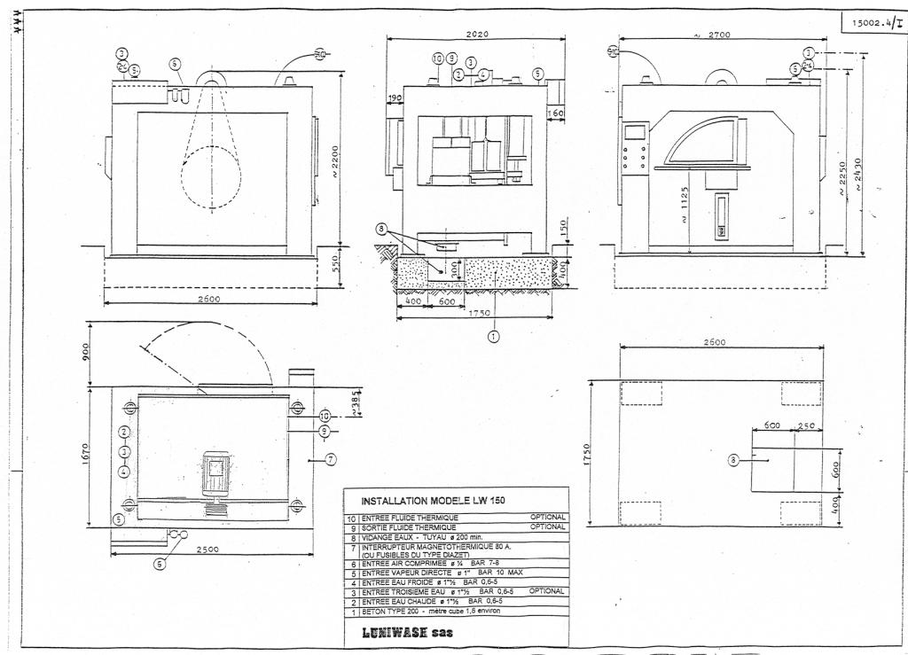 les instructions d'installation de la laveuse essoreuse LW 150 - Luniwash