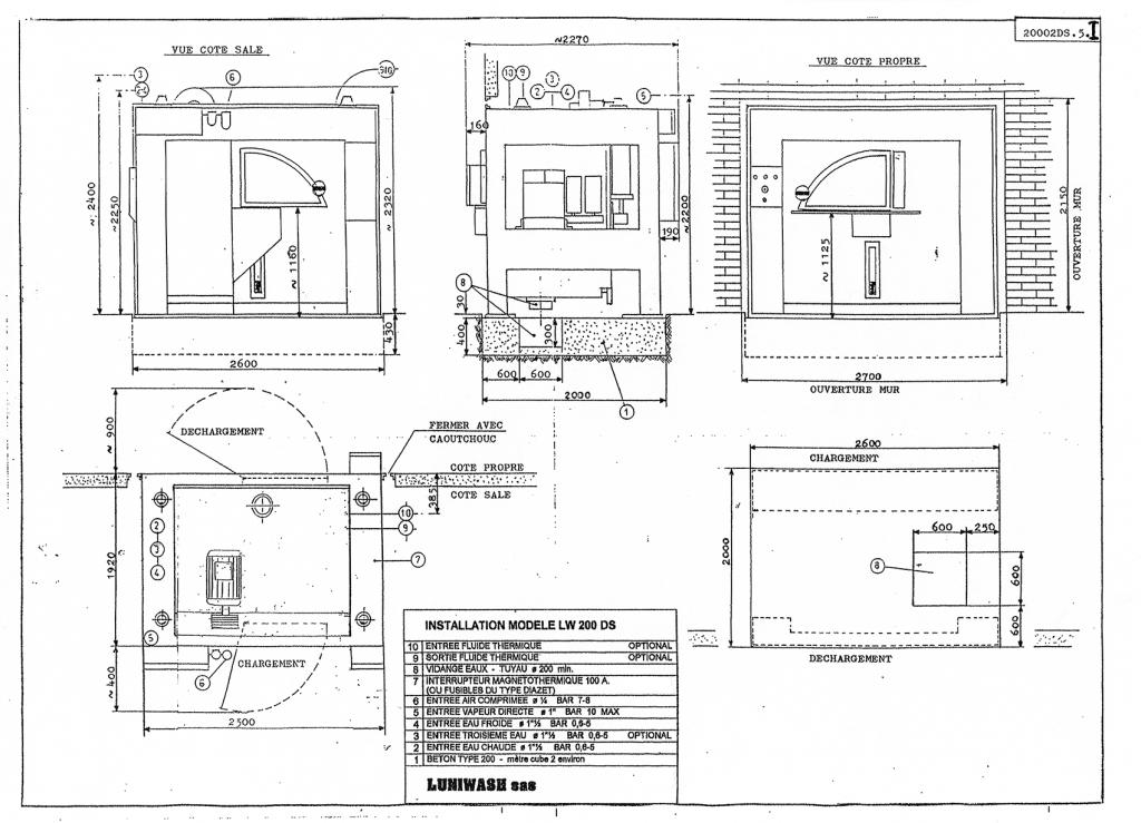 les instructions d'installation de la laveuse essoreuse LW 200 DS - Luniwash