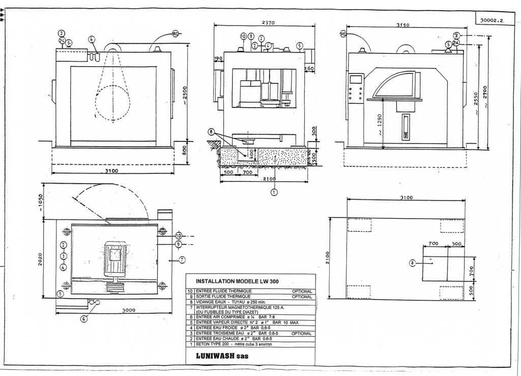 les instructions d'installation de la laveuse essoreuse LW 300 - Luniwash