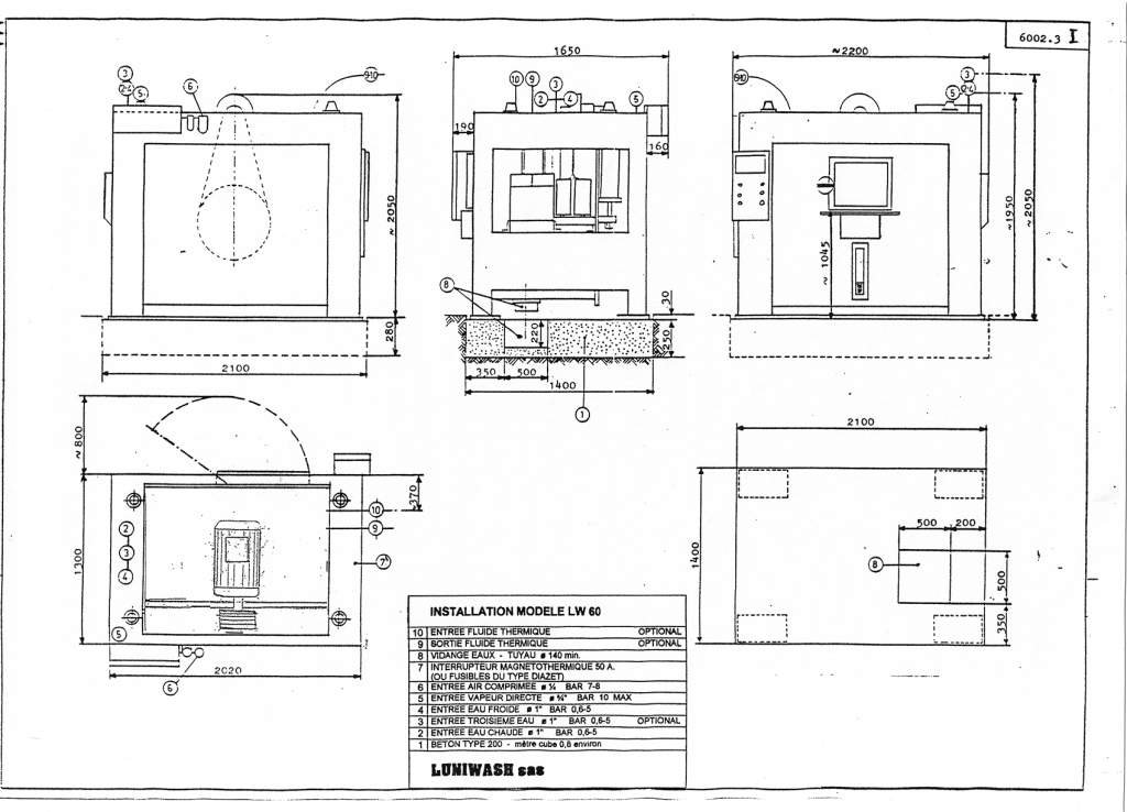 les instructions d'installation de la laveuse essoreuse LW 60 - Luniwash