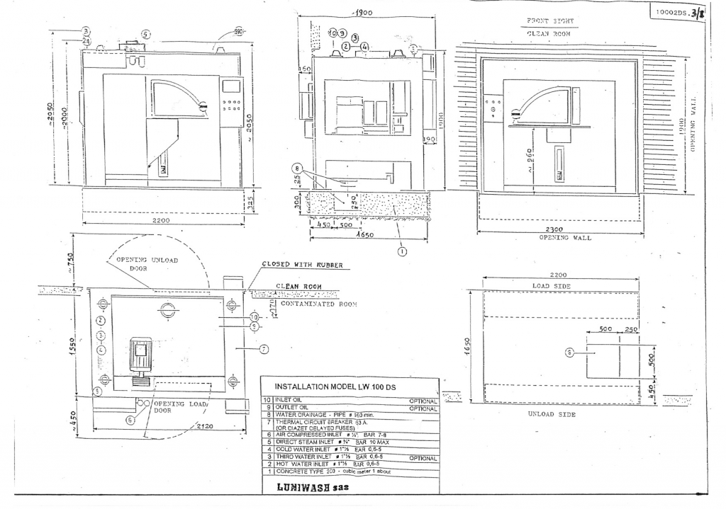 Installation instructions for industrial washer extractor LW-100 DS - Luniwash