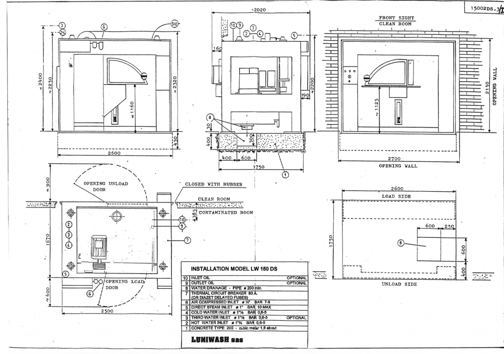 Installation instructions for industrial washer extractor LW-150 DS - Luniwash
