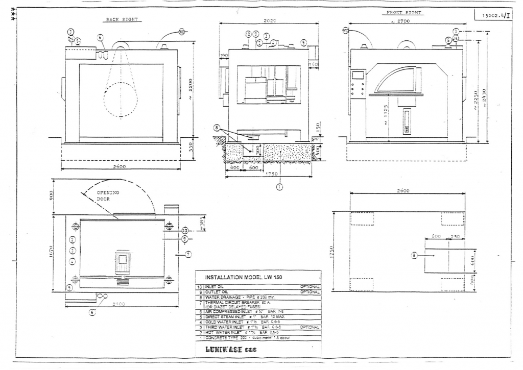 Installation instructions for industrial washer extractor LW-150 - Luniwash