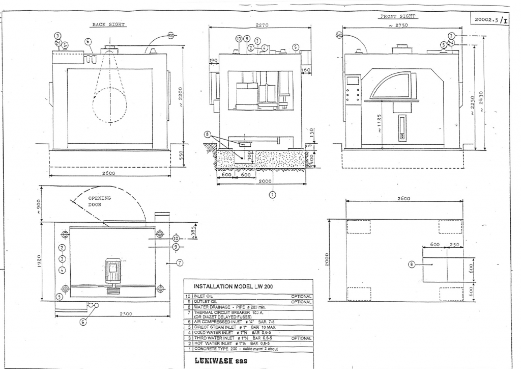 Installation instructions for industrial washer extractor LW-200 - Luniwash