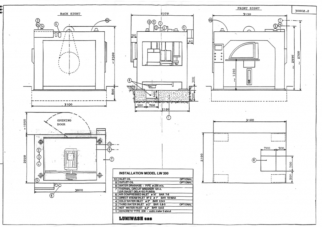Installation instructions for industrial washer extractor LW-300 - Luniwash