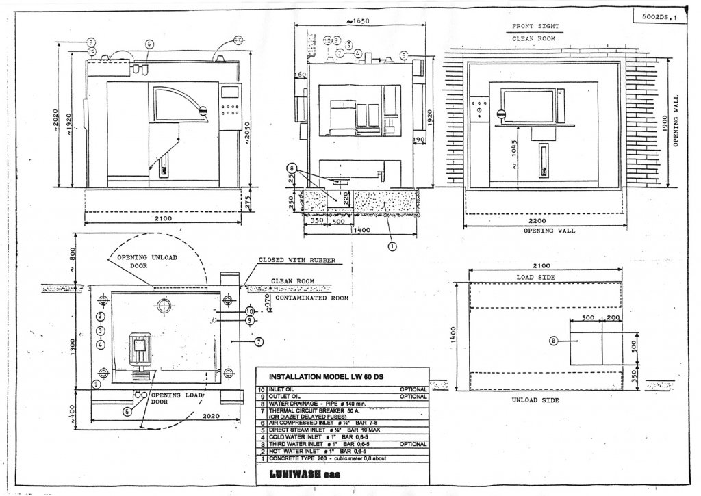 Installation instructions for industrial washer extractor LW-60 DS - Luniwash