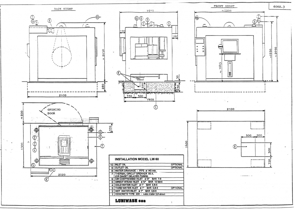 Installation instructions for industrial washer extractor LW-60 - Luniwash