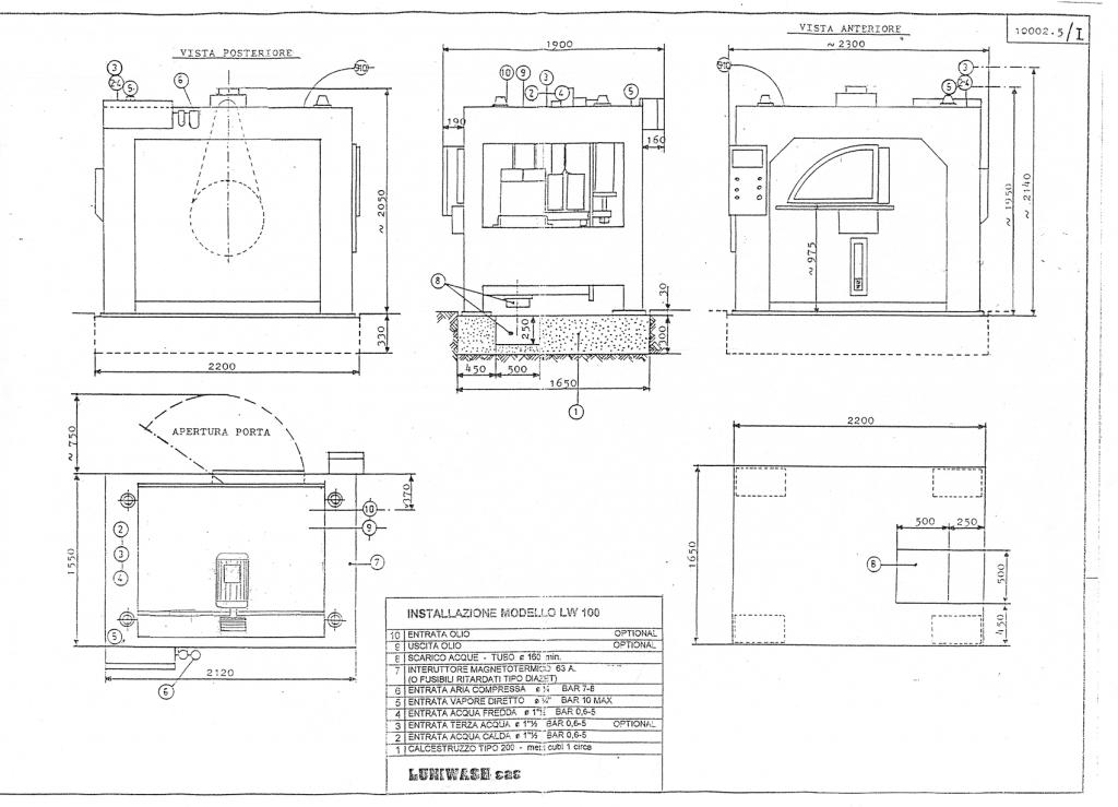 Schema di installazione lavatrice industriale LW 100 - Luniwash