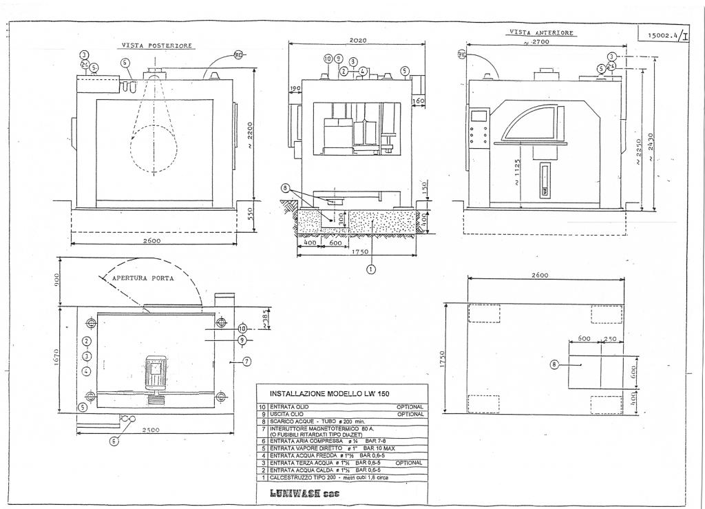 Schema di installazione lavatrice industriale LW 150 - Luniwash