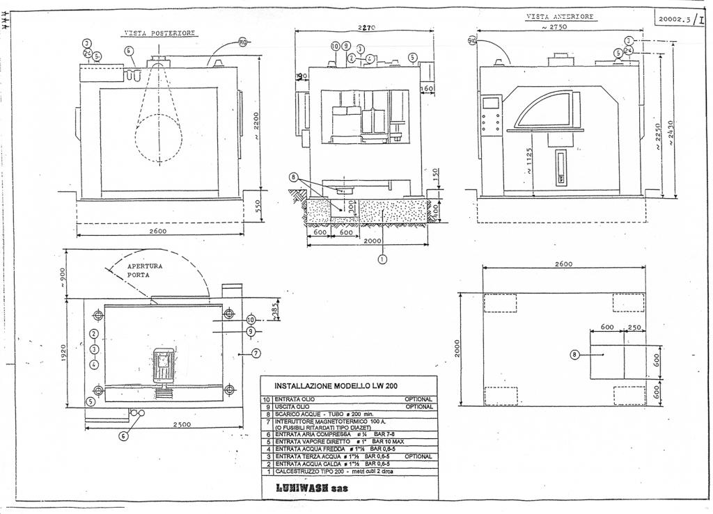 Schema di installazione lavatrice industriale LW 200 - Luniwash