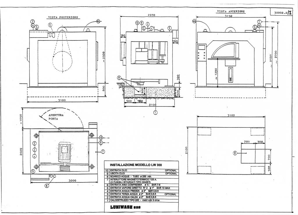 Schema di installazione lavatrice industriale LW 300 - Luniwash