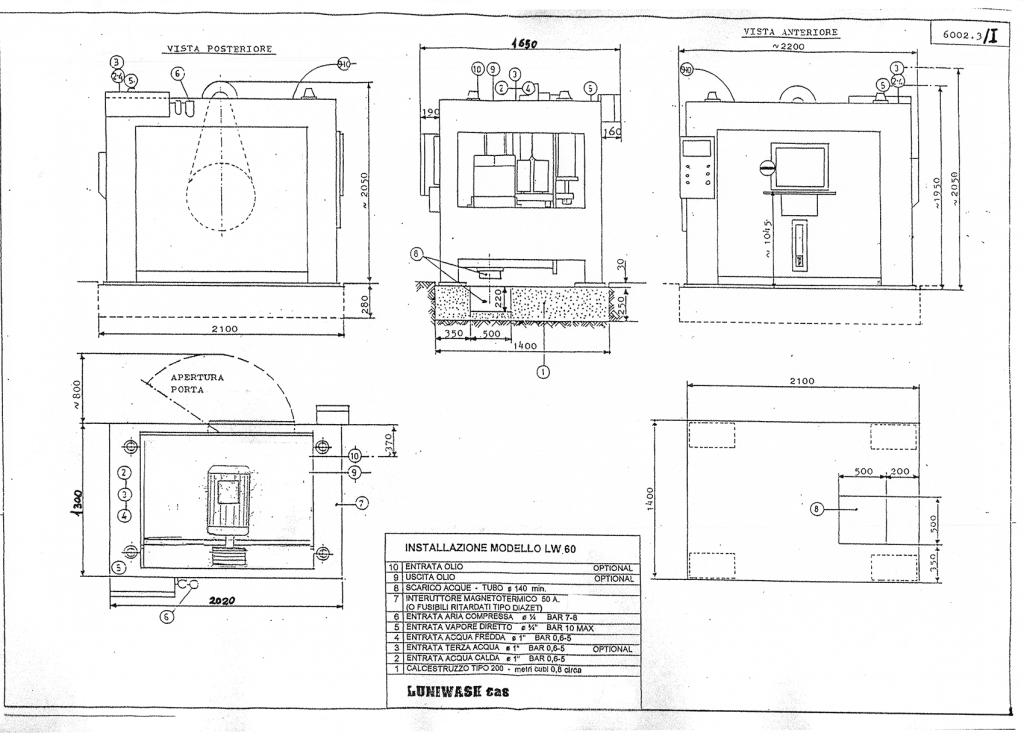 Schema di installazione lavatrice industriale LW 60 - Luniwash