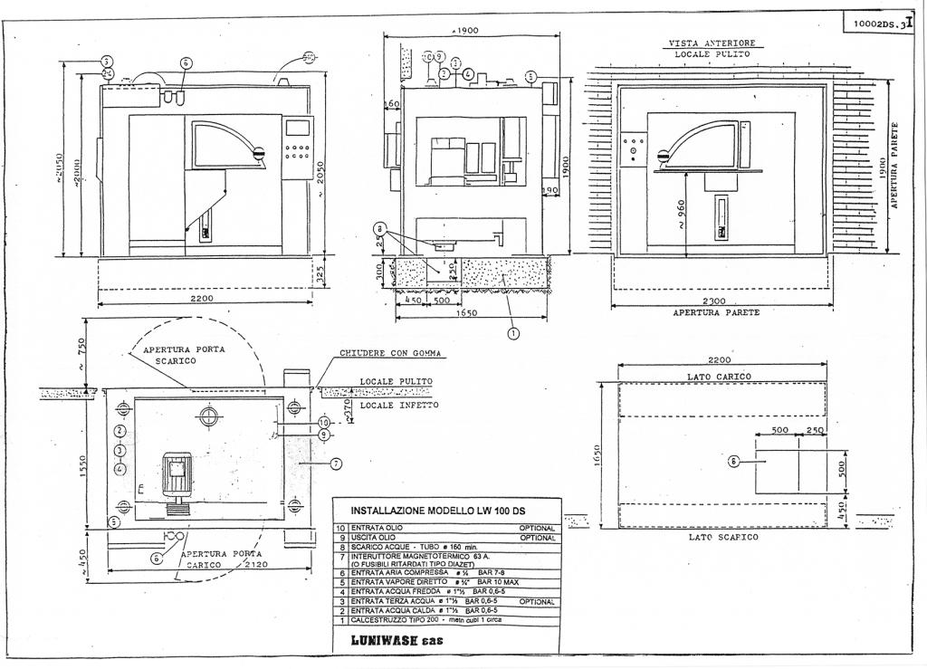 Schema di installazione lavatrice industriale LW 100 DS - Luniwash