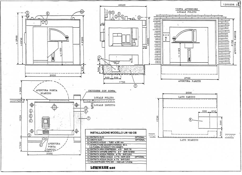 Schema di installazione lavatrice industriale LW 150 DS - Luniwash
