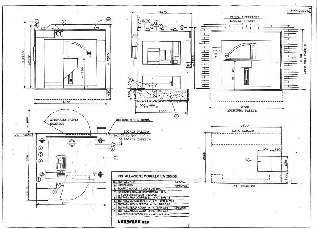 Schema di installazione lavatrice industriale LW 200 DS - Luniwash