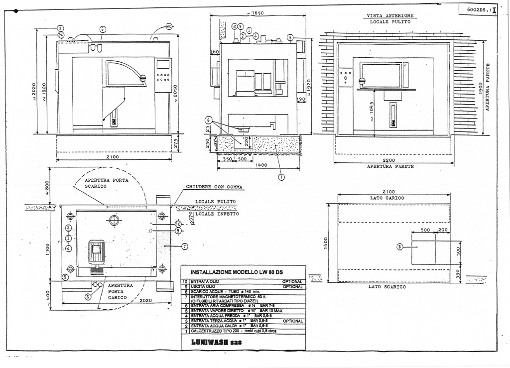 Schema di installazione lavatrice industriale LW 60 DS - Luniwash